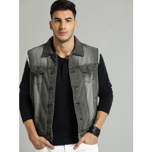 Roadster Men Black Solid Denim Jacket