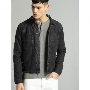 Roadster Black Solid Denim Jacket