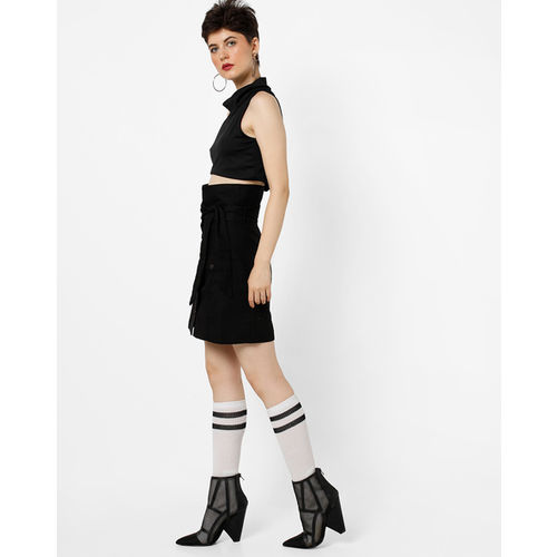 MDS High-Rise Paper-Bag Skirt with Waist Tie-Up