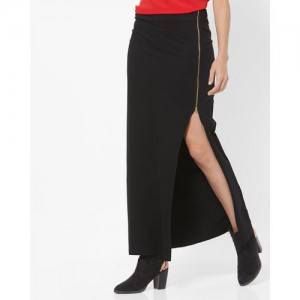 FABALLEY Straight Maxi Skirt with Thigh-High Slit