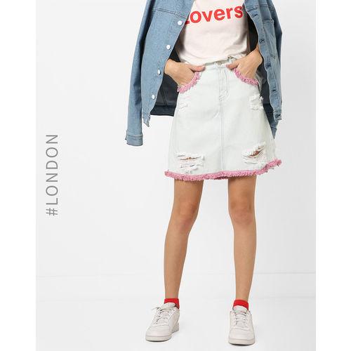 Glamorous Distressed Denim Skirt with Fringe Trims