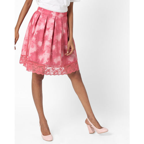 d5efe3016 Buy AJIO Pleated Skirt with Lace Hem online | Looksgud.in