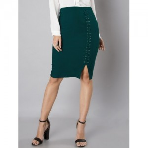 FabAlley Green Solid Pencil Skirt