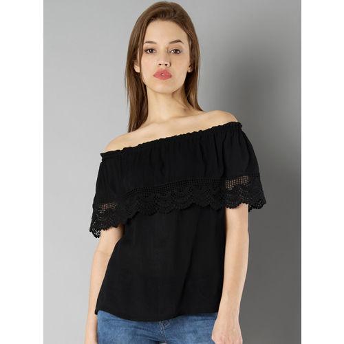 FabAlley Women Black Solid Bardot Top
