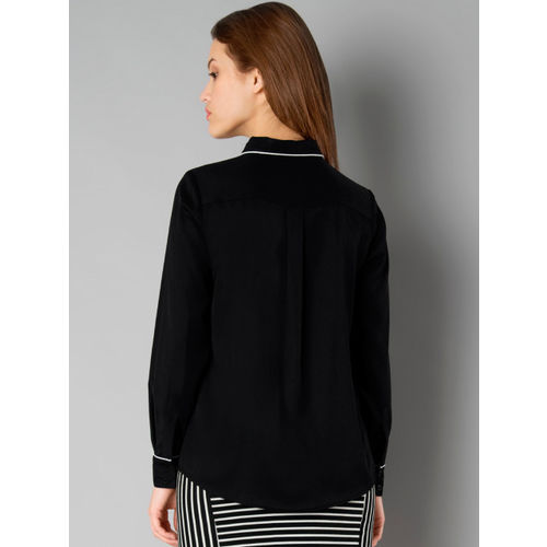 FabAlley Women Black Solid Shirt Style Top