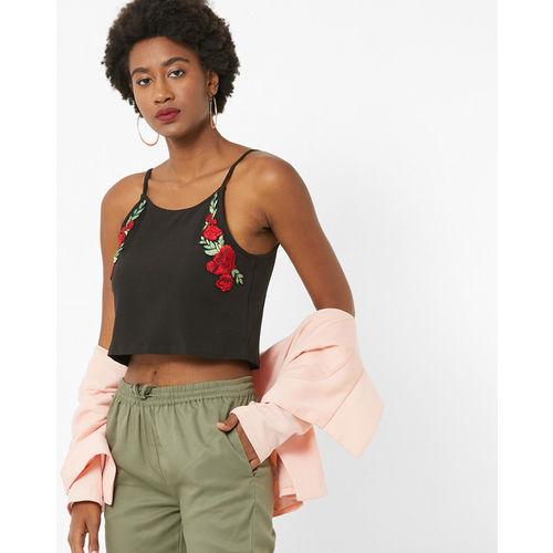 FabAlley Women Black Solid Crop Top