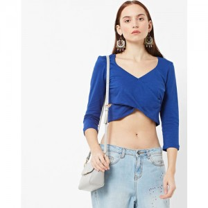 FABALLEY V-Neck Crop Top with Criss-Cross Front