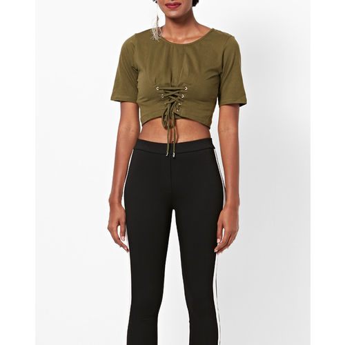 FABALLEY Round-Neck Crop Top with Lace-Up Hemline