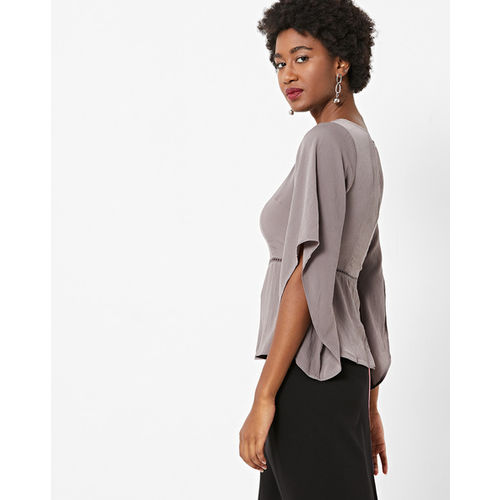 FABALLEY Round-Neck Peplum Top with Bell Sleeves