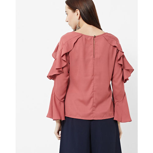 FABALLEY Round-Neck Top with Ruffled Panels
