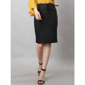 FabAlley Women Black Solid Pencil Skirt