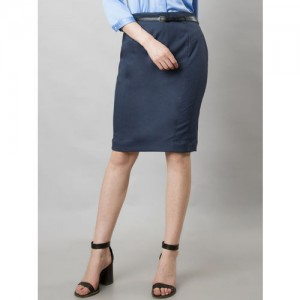 FabAlley Women Blue Solid Pencil Skirt