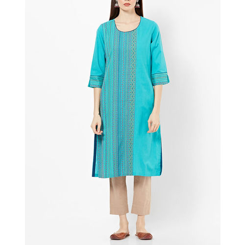 Rangriti Straight Kurta with Woven Design