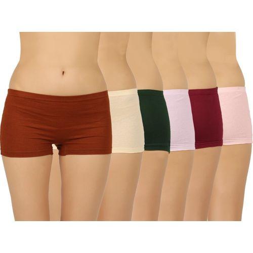 9f81df9b4ec Buy Vaishma Women's Boy Short Brown, Yellow, Dark Green, Pink, Purple,  Maroon Panty(Pack of 6) online   Looksgud.in