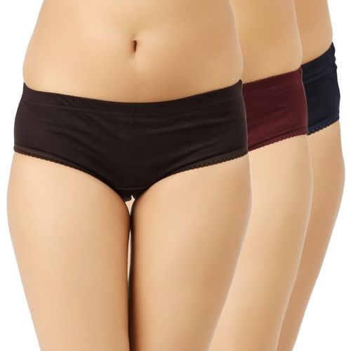 Vaishma Women's Hipster Brown, Maroon, Dark Blue Panty(Pack of 3)