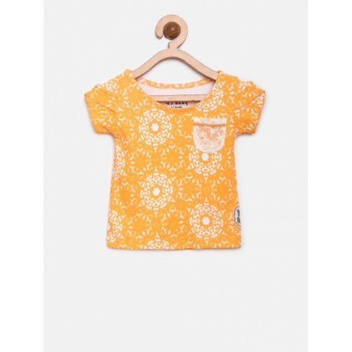 Gini and Jony Orange Cotton Printed Top