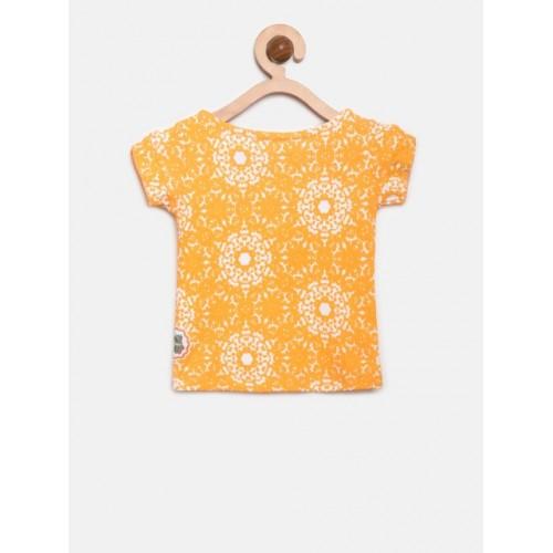 Gini and Jony Orange Cotton Printed Top