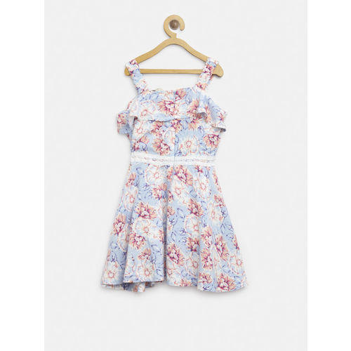 Gini and Jony Girls Blue & Peach-Coloured Printed Fit & Flare Dress