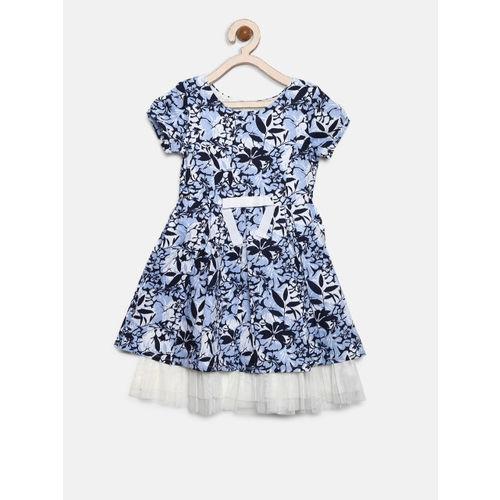 Gini and Jony Girls Blue & White Layered Printed Fit & Flare Dress