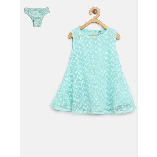 Gini and Jony Girls Blue Self Design A-Line Dress