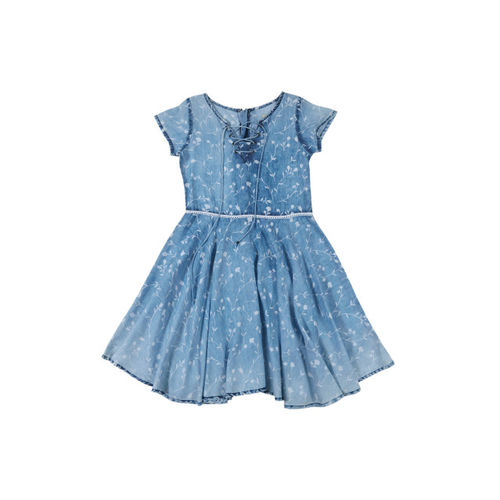 Gini and Jony Girls Blue Printed Fit & Flare Dress