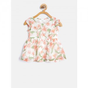 Gini and Jony Girls White & Peach-Coloured Floral Print Fit & Flare Dress