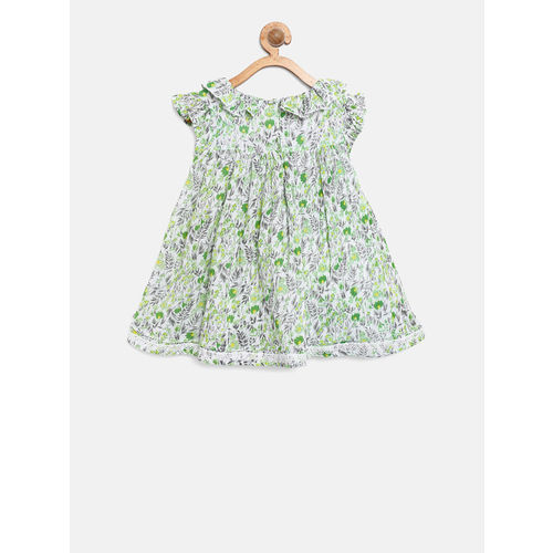 Gini and Jony Girls White & Green Printed Fit & Flare Dress