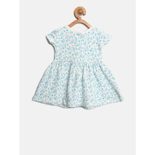 Gini and Jony Girls White Printed Fit and Flare Dress
