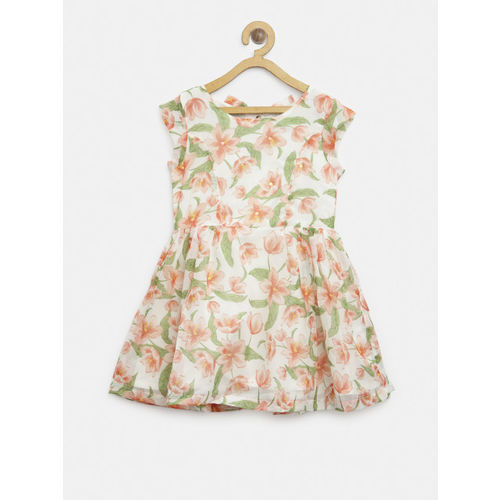 Gini and Jony Girls White & Peach-Coloured Printed Fit and Flare Dress