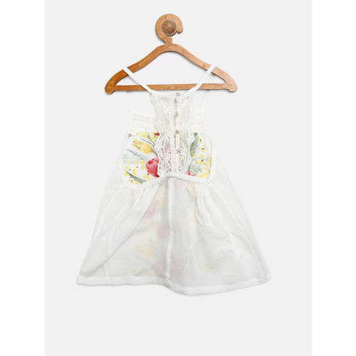 Gini and Jony Girls White Floral Print A-Line Top