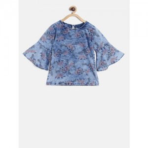 Gini and Jony Girls Blue Printed Chambray A-Line Top