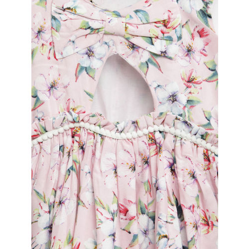 Gini and Jony Girls Pink Floral Print Fit and Flare Dress
