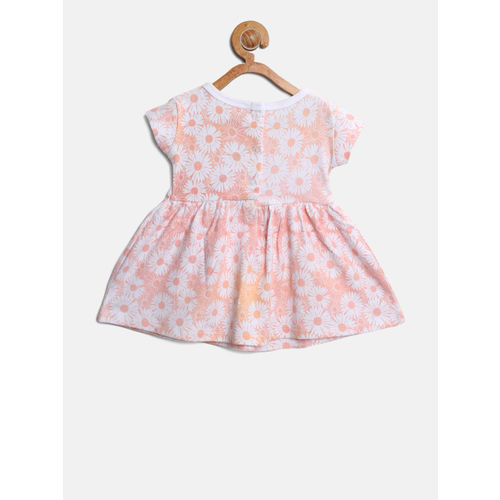 Gini and Jony Girls Peach-Coloured & White Floral Print Fit and Flare Dress