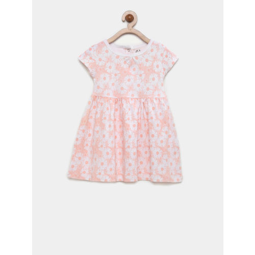 Gini and Jony Girls Peach-Coloured Printed Fit and Flare Dress