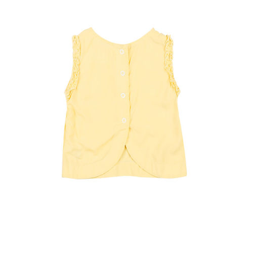 Gini and Jony Girls Yellow Solid Top with Frill Detail