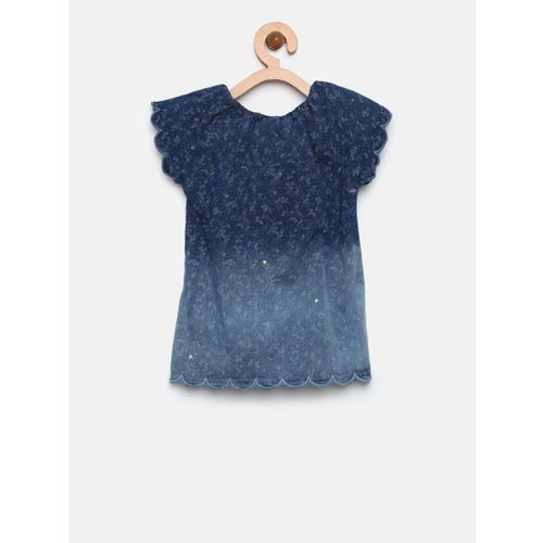 Gini and Jony Girls Navy Blue Chambray Printed Top