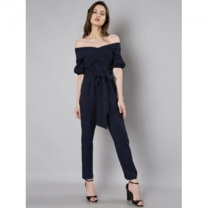 FabAlley Navy Blue Solid Basic Jumpsuit