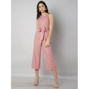 FabAlley Pink Striped Culotte Jumpsuit