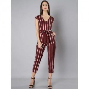 FabAlley Maroon & White Striped Basic Jumpsuit
