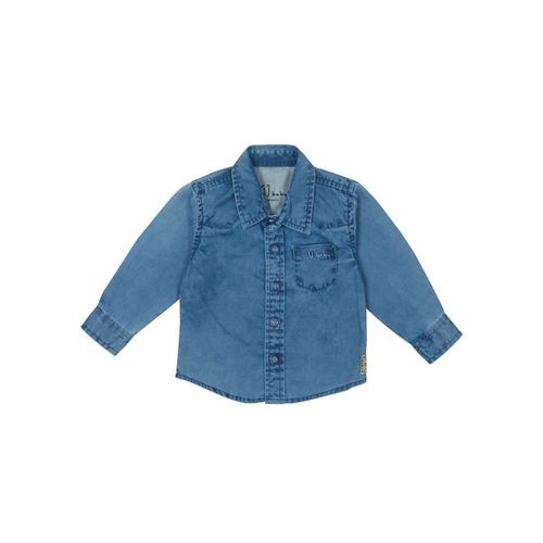 Gini and Jony Boys Blue Standard Regular Fit Solid Casual Shirt