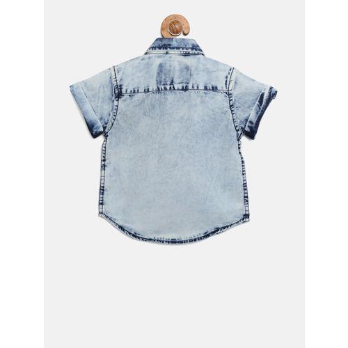 Gini and Jony Boys Blue Regular Fit Faded Casual Shirt