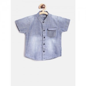 Gini and Jony Boys Blue Regular Fit Faded Chambray Shirt
