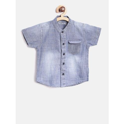 Gini and Jony Boys Blue Regular Fit Faded Chambray Shirt