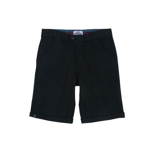 Gini and Jony Boys Black Checked Regular Fit Regular Shorts