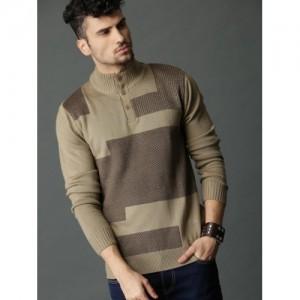 Roadster Men Beige & Brown Self Design Pullover