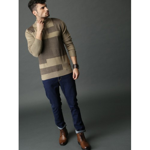 Roadster Men Beige & Brown Self Design Pullover