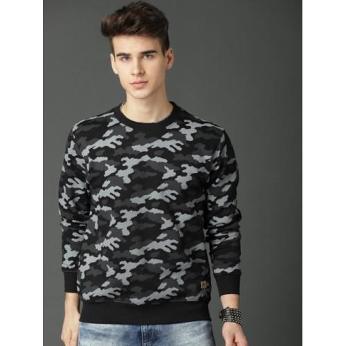 Roadster Men Black & Grey Printed Sweatshirt