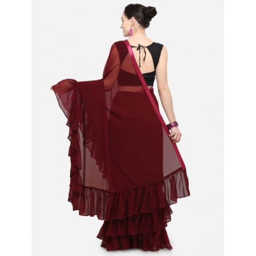 Colors Maroon Solid Poly Georgette Saree