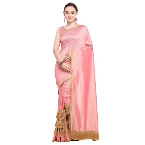 Colors Pink & Brown Poly Crepe Solid Saree