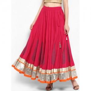 Varanga Red Cotton Flared Skirt